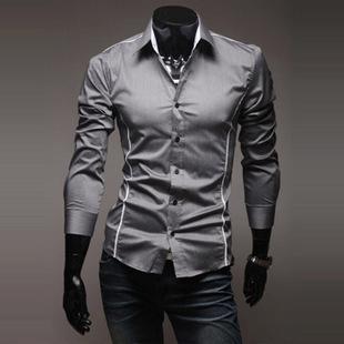 2018 Mens Fashion Luxury Stylish Casual Designer Dress Shirt Muscle Fit Shirts 3 colors 5 Sizes