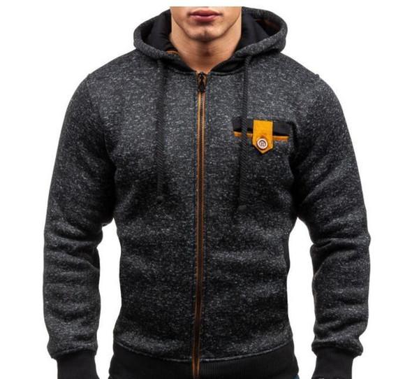 Mens hood jacket European Sport Style Men Hoodiers Fleece Cardigan Street Casual Hoodie Jacket Brand Design Gray Black Fashion Coat