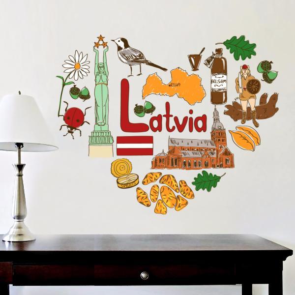 Lettland Illustration Reisen Das Wort Wahrzeichen Wandaufkleber Hochzeit Dekor Vinyl Wasserdichte Wandaufkleber Tapete Aufkleber