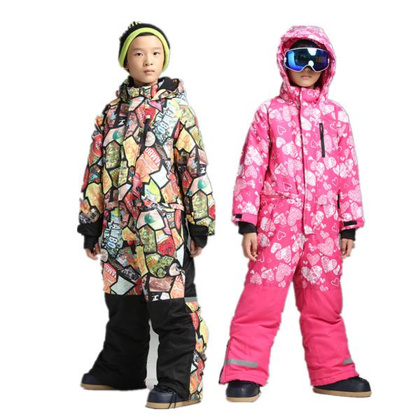 Boys one piece ski suit snowsuit overalls snowboard jumpsuit ski suits kids winter jacket for children warm romper -30 degrees