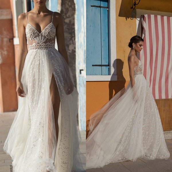 Gali Karten Sexy Beach Wedding Dresses with Side Split Illusion Spaghetti Strap Boho Wedding Gowns Pearls Backless Bohemian Dress for Bride