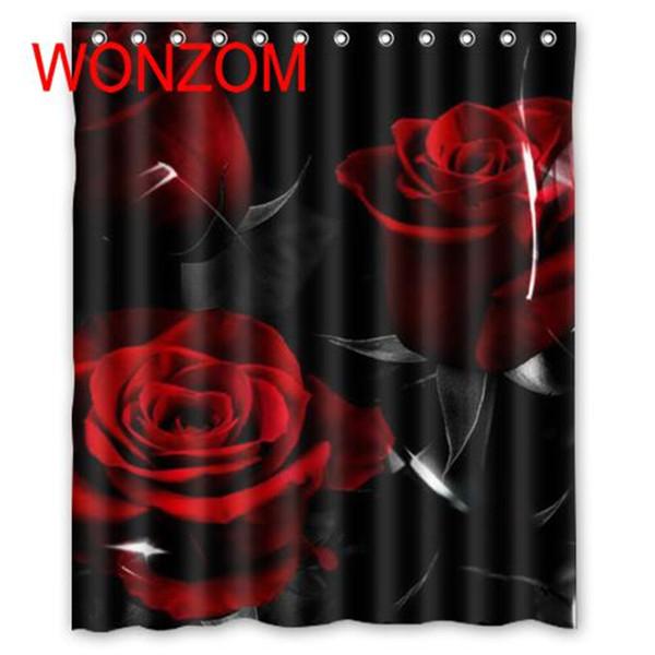 Acheter WONZOM Rouge Rose Douche Salle De Bains Accessoires Imperméables  Rideaux Pour La Décoration Moderne Fleur Polyester Rideau De Bain Avec 12  ...