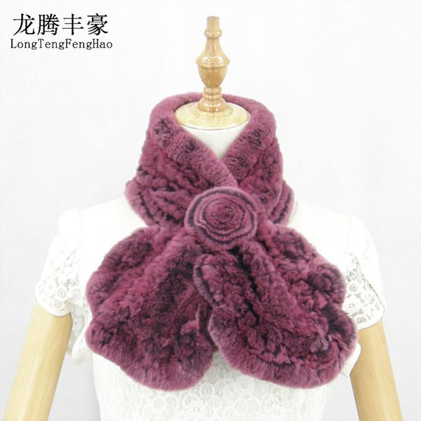 90*13-18cm Women 100% Real Rex Rabbit Fur Scarf Knitted Natural Fur Neckerchief Fashion Flower Multicolor Rabbit Scarves