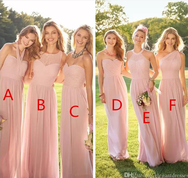top popular 2021 Pink Cheap Long Bridesmaid Dresses Mixed Neckline Chiffon Summer Lace Formal Prom Party Maid Of Honor Dresses Plus Size Custom Made 2021