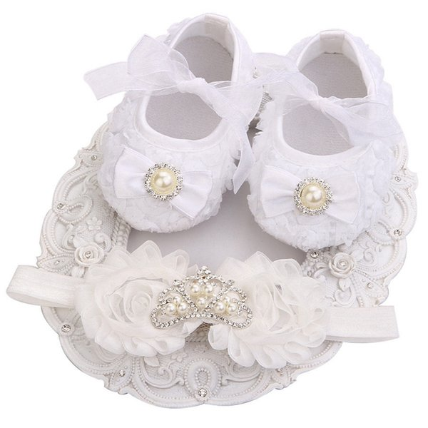 6235fb5a671c Handmade Soft Bottom Newborn Booties Christening Shoes For Kids Rhinestone  Crown White Shoes Girls Baptism Set First Walkers