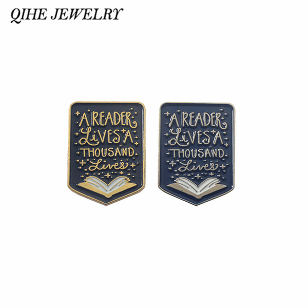 QIHE JEWELRY Book pins Reader brooches Enamel pins Badges Read Quote Jewelry Gifts for Students Teachers Book lover