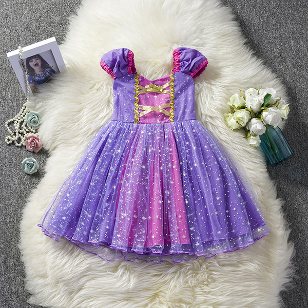 Toddler Baby Girl Dress Princess Cosplay Costume Girls Kid Birthday Party Children Clothes Bling Fancy Purple Tutu Gown Christmas Clothing