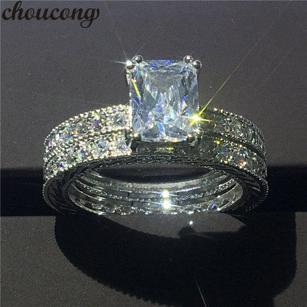 choucong Vintage Jewelry Princess cut 3ct Diamonique Diamond ring White gold filled Engagement Wedding Band Rings set For Women
