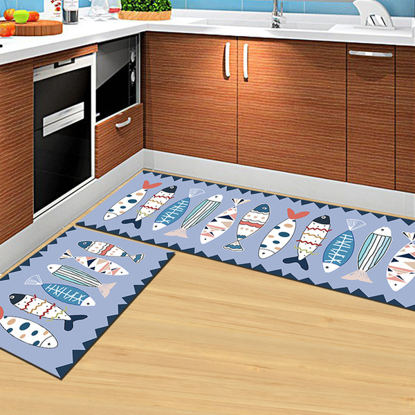 Fish Printed Long Floor Rugs Home Decor Area Rug For Living Room Kitchen Mats Anti-slip Kids Bedroom Carpets Bedside Rugs