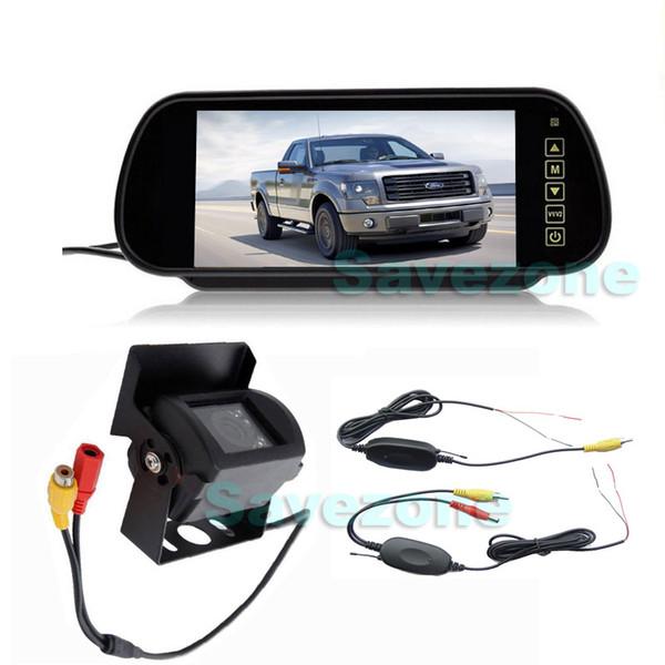 "Wireless CCD 18 IR LED Night Vision Waterproof Reversing Backup Camera + 7"" LCD Monitor Mirror Car Rear View Parking Assistance Kit"