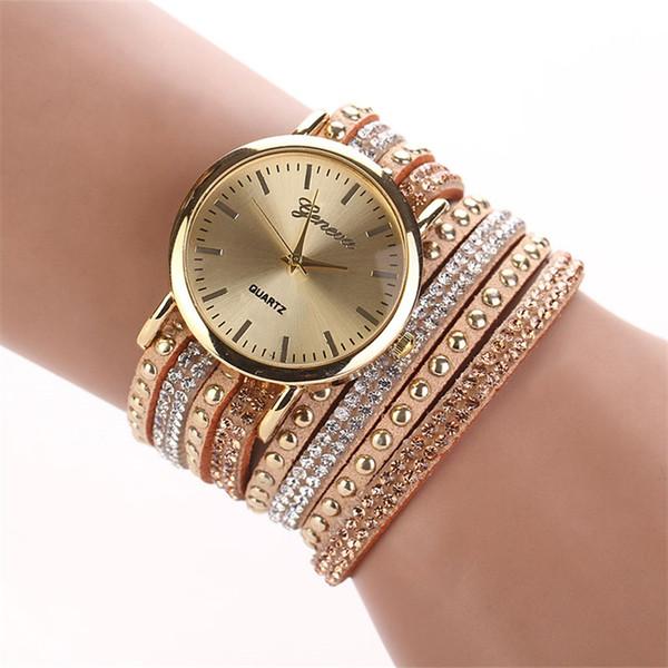 Famous brand luxury Women's Bracelet Watches shiny Crystal Bracelet Quartz Braided Winding Wrap WristWatch relogios femininos