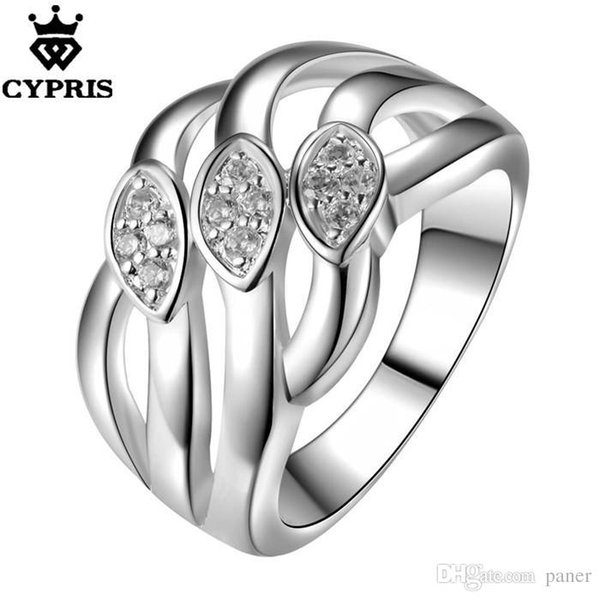 Wholesale- Hot Promotion silver Fashion Ring Eye Crystal Neutral Engagement CYPRIS women lady wedding club gift ceremony chic fancy 925
