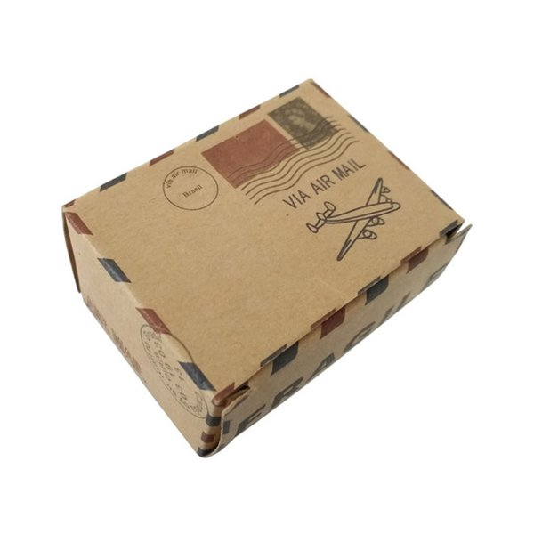 Gifts Candy Boxes Bag Twine Chic Retro Kraft Airplane Post+ Pendant Square Gift