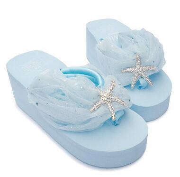 wholesale lace slippers women fall crystal starfish beach flip flops woman handmade star platform wedges sandals