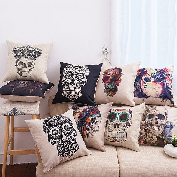 Mexican Sugar Skull Pillow Case Cushion Cover Linen Cotton Throw Pillowcases Sofa Car Decorative Pillowcover Drop Shipping DYC19