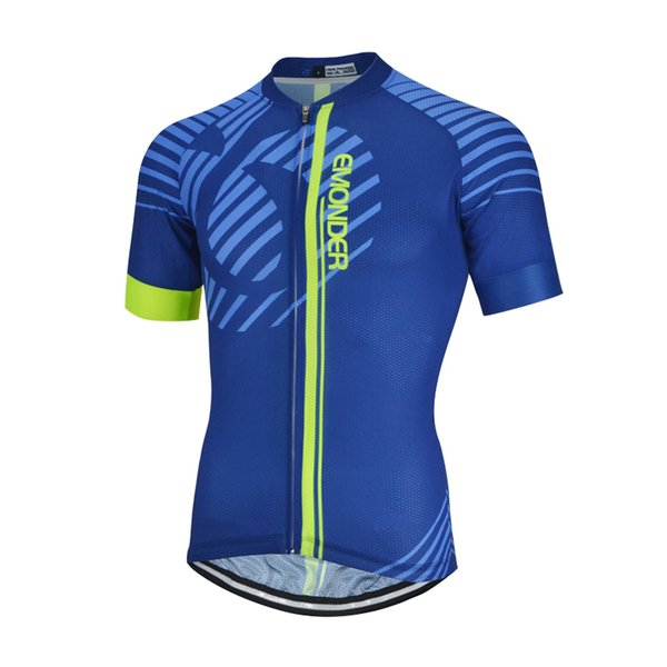 EMONDER Men Cycling Jersey Pro Fit Keep Dry Mesh Sleeve Cuff Road Bike MTB Short Sleeve Breathable Jerseys Top Riding Shirt