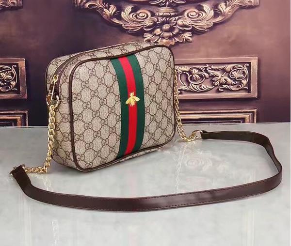 высокое качество известный дизайнер новый натуральная кожа овчины карманные цепи стеганые плеча рюкзак школьные сумки кошелек G1705#