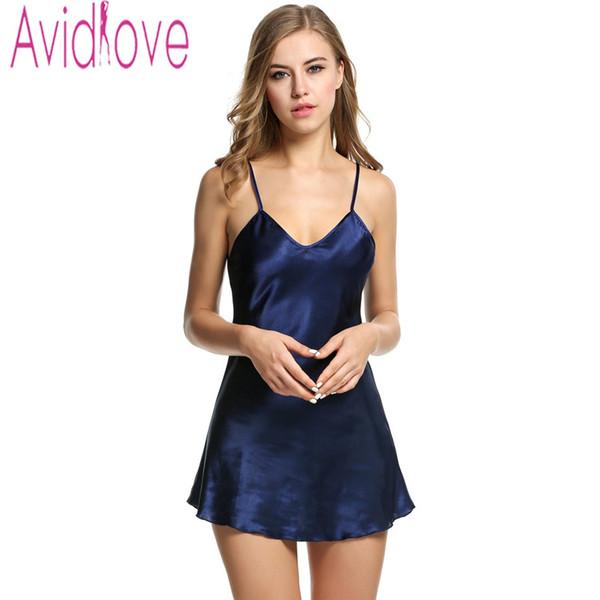 Avidlove Stain Nachthemd Frauen Slik Sleepwear Sexy Nacht Kleid V-Umhängeband Solide Nachtwäsche Schlaf Kleid Female Home Kleidung
