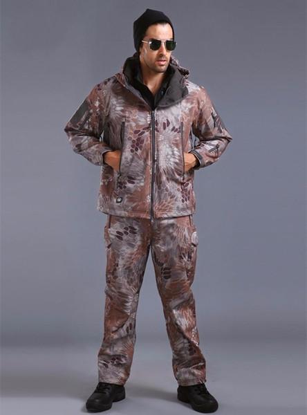 Camouflage Jagd Soft Shell TAD Anzug Outdoor Tactical Shark Haut Jacken und Hosen Camping Wandern Wasserdicht TAD Uniformen.