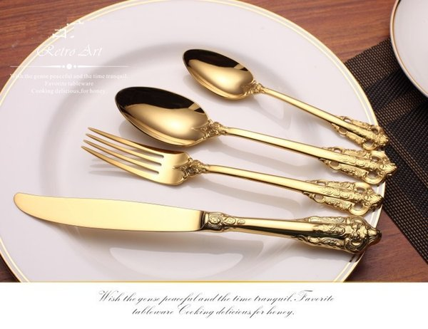 Vintage Western Gold Plated Dinnerware Dinner Fork Knife Set Golden Cutlery Set Stainless Steel 4 Pieces Engraving Tableware wn584 20setD