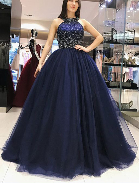 Dark Blue Arabic Evening Dresses Puffy Ball Gown Off The Shoulder Crystal  Beaded Plus Size Formal Prom Gowns Dubai Evening Party Dresses Emo Prom ...