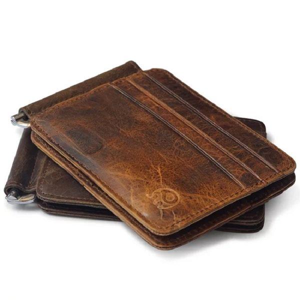 whole saleFashion Genuine Leather Bank Card Wallets Men Money Clips Vintage Business ID Cards Clutch Holder Women W