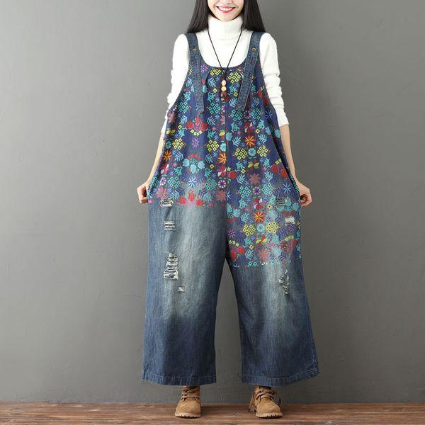 Floral salopette à jambes larges pour les femmes body combinaisons salopettes imprimé fleur plus la taille lâche casual salopette en denim déchiré des salopettes