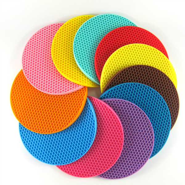 18cm Round Heat Resistant Silicone Mat Drink Cup Coasters Non-slip Pot Holder Table Placemat Kitchen Accessories