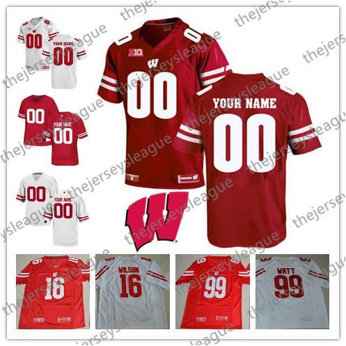 Gewohnheit Irgendein Name Irgendeine Zahl Weiß Rot Genäht Personalisierte # 99 J. J. Watt NCAA College Fußball Trikots S-3XL
