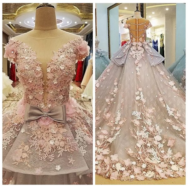 2019 Sheer Beautiful A-Line Wedding Dresses Beaded Crystal With 3D Flowers Adorned Bridal Gowns Custom Bling Bling Bow Vestidos De Marriage