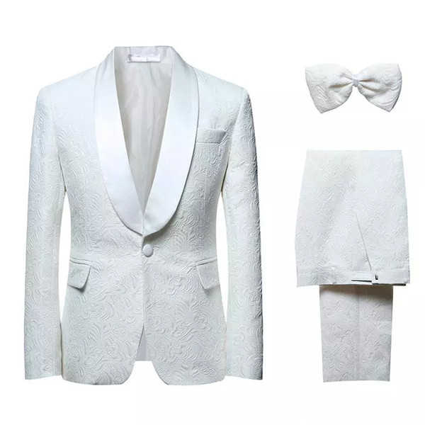 Hot Selling Fashion Wedding Suits Colour White Three Pieces (Jacket+Pant+Bow Tie) Side Vent Print Bridegroom Formal Wears