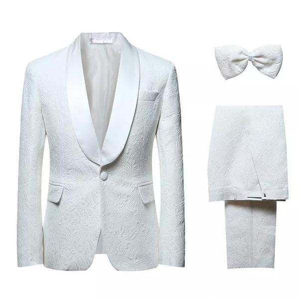 Venda quente Moda Ternos De Casamento Cor Branco Três Peças (Jacket + Calça + Gravata borboleta) Side Vent Impressão Noivo Formal Veste