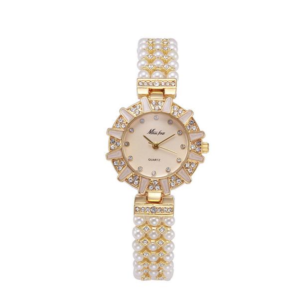 Nature Pearl Watch Women Rhinestone Solar Women Dress Watch Fashion Diamond Pearl Chain Band Women Girl Cheap Watches
