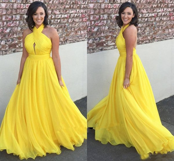 2018 Stunning Bright Yellow Chiffon Long Prom Dresses Halter Sleeveless Keyhole Backless Party Formal Dress Cheap Formal Gowns