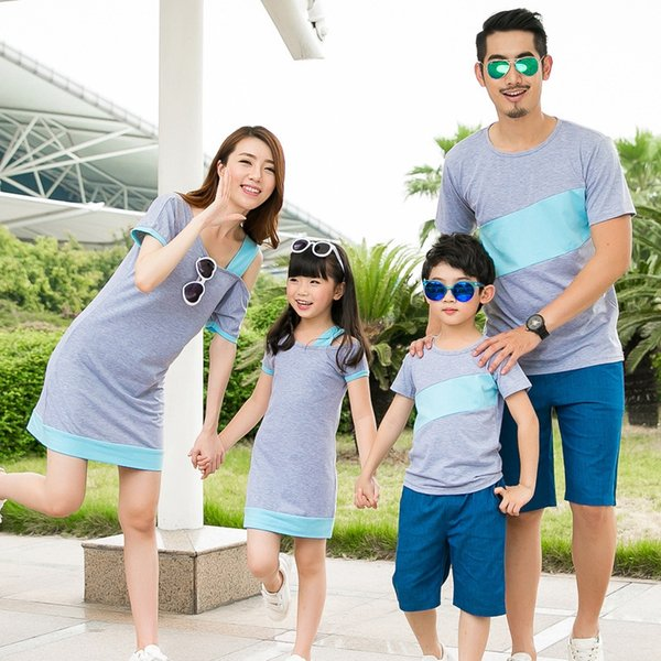 Family Clothing Set Mother Daughter Dresses Summer Family Matching Outfits T-shirt For Father Son Family Clothes Black Gray Red