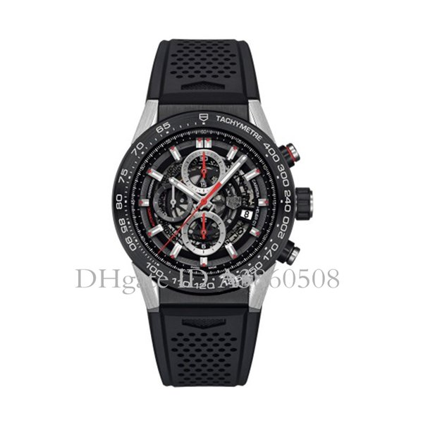 Top Quality Men's Sports Watches 45MM Rubber Strap Luxury Watch VK Quartz Chronograph All Pointers Work TG Watches