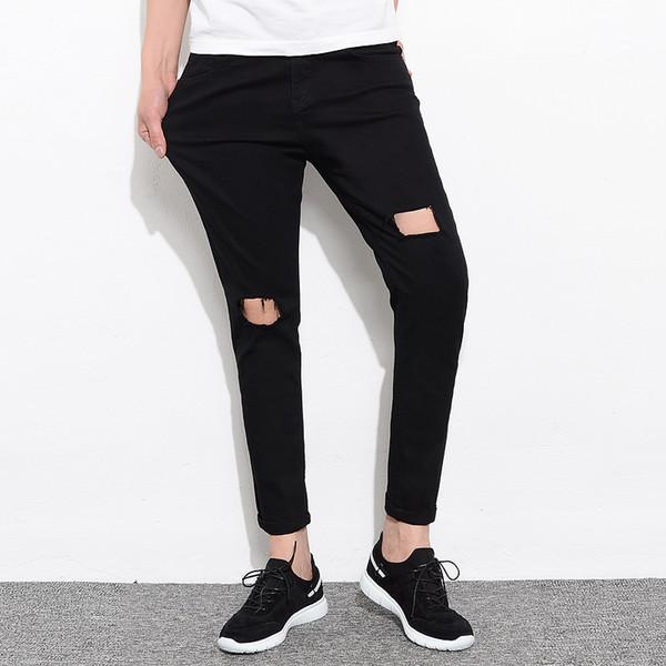 Fashion Men Jeans Hole Black White Slim Fit Mens Jeans Pants 2018 Summer Denim Trousers Male Cotton Stretch Skinny For Men