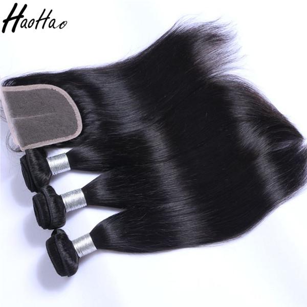 Fasci di capelli umani con capelli umani brasiliani di Remy diritti anteriori e di chiusura dei capelli vergini diritti per afroamericani delle donne nere