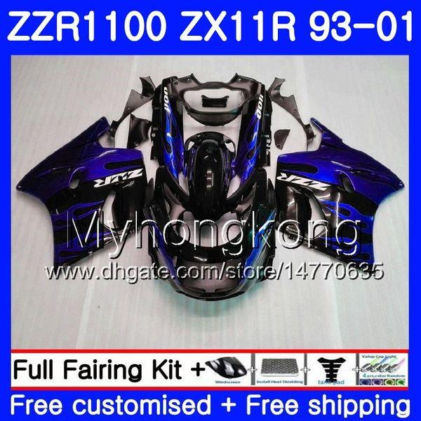 Blue flames Body For KAWASAKI NINJA ZX 11R ZX11R 93 98 99 00 01 206HM.45 ZZR 1100 ZX11 R ZZR1100 ZX-11R 1993 1998 1999 2000 2001 Fairings
