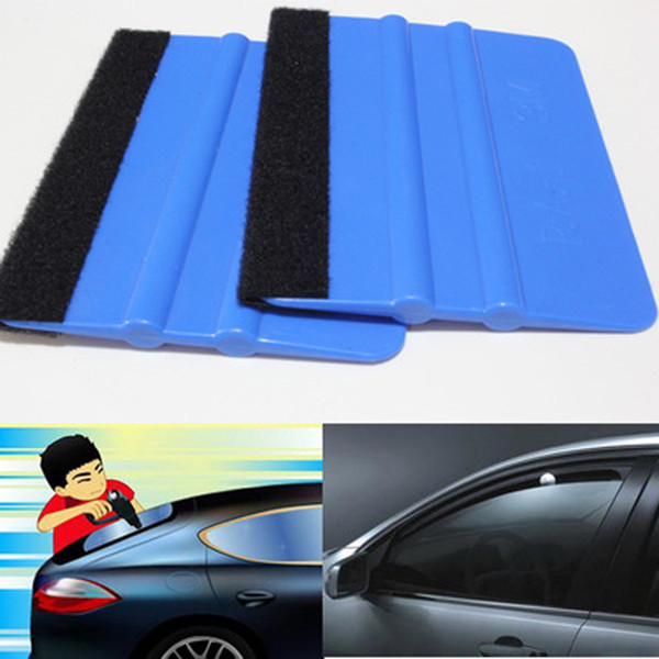 best selling Blue and red optional 3M with cloth scraper color film soft scraper wool cloth square scraper car foil tool supplies squeegees