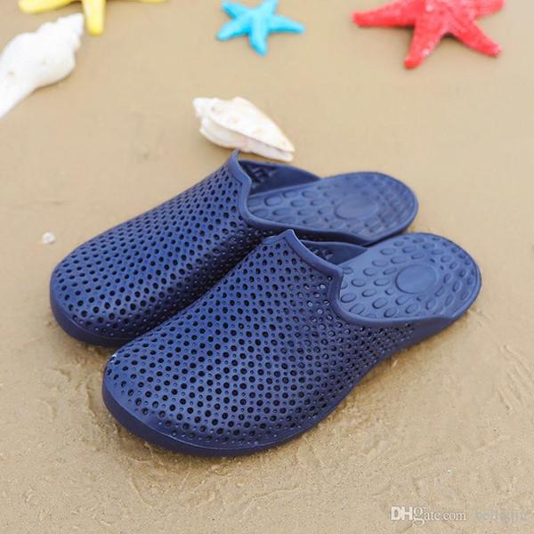 2018 Men eva sandals Shoes Breathable Hollow Out Flip Flops rubber garden shoes or clogs, hole EVA Sandals beach flip flops size 39-46