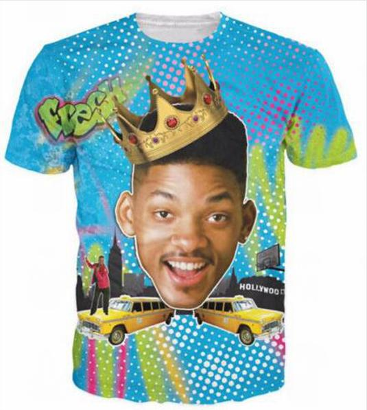 Yeni Moda Çiftler Erkek / Kadın Unisex Bel Hava Prens of Komik Komik Baskı Hiçbir Kap Rahat T-Shirt Tee Üst Toptan S-5XL QA12