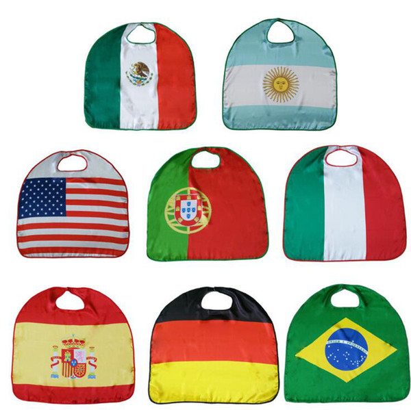 best selling World Cup Flags USA Italy Germany National Flag Cloak Capes Cosplay Party Celebrate Decoration Supplies OOA4825