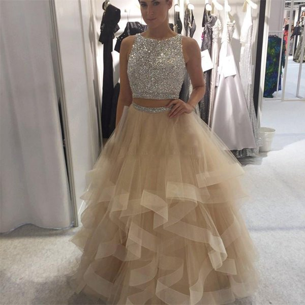 Champagne Ball Gown Prom Dresses Sparkly Sequins Beaded Top Tulle Tiered Skirt Keyhole Back Plus Size Backless Evening Dresses