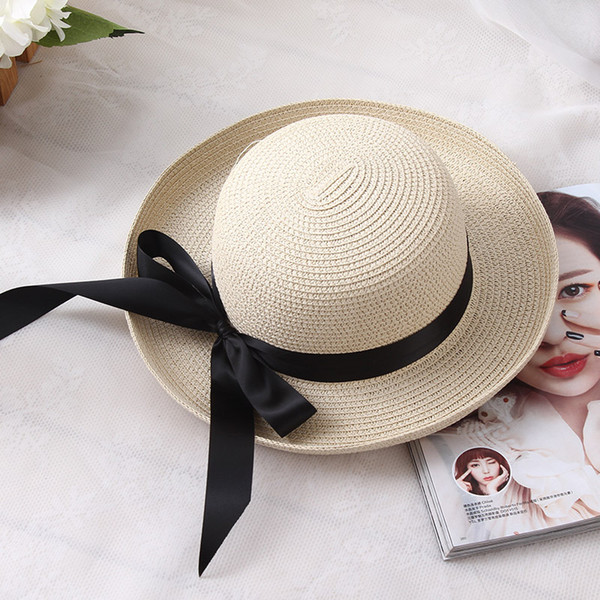 3cdb82d968e BONJEAN Women Girls Folding Sun Hat Summer Beach Cap Wide Brim Bowknot  ribbon black Floppy Straw