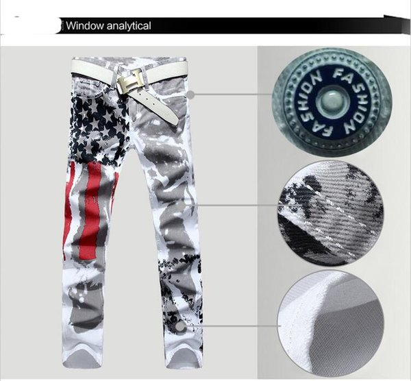 2018 Resilience Long Pants Fashion Clothing Mens Designer Jeans Denim Trousers with American Flag Printed Plus Size