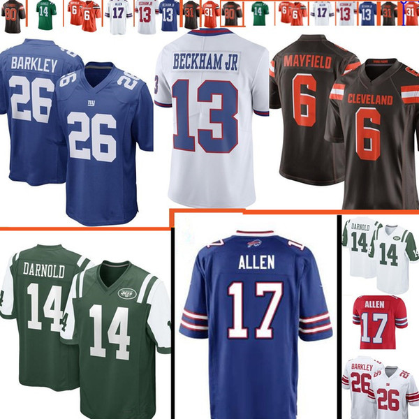 hot sale online c7320 a2aad 2019 #26 Saquon Barkley Giants 17 Josh Allen Bills 14 Sam Darnold Jets 6  Baker Mayfield 80 Jarvis Landry Browns Jersey Top Sales Football Jerseys  From ...