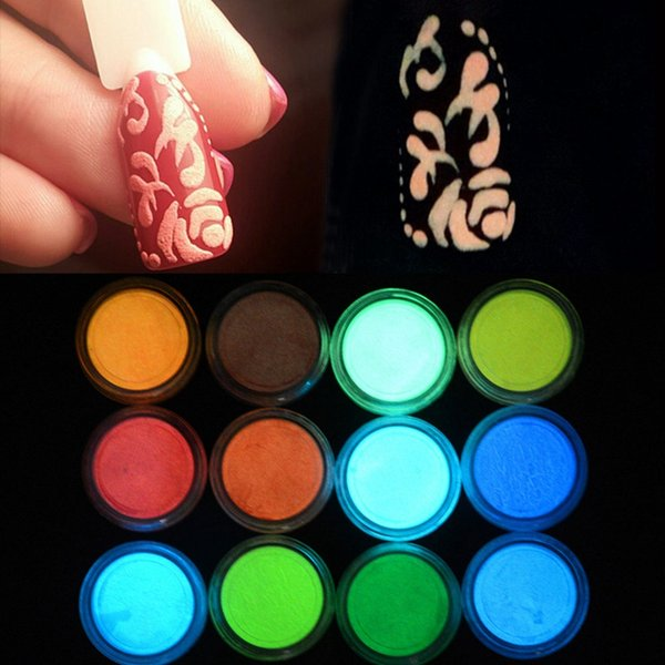 1 Box Neon Phosphor Powder Nail Glitter Powder 10 Colors Dust Luminous Pigment Fluorescent Nail Glitters Glow in the Dark
