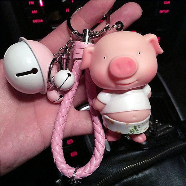Fashion Cute Cartoon Pig Keychain Leather Rope Key Chains Animal Key Ring Holder Fur Pompones Llavero for Women Girl Bag Pendant