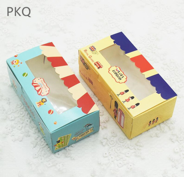 5 colors Kraft Paper Gift Boxes 20pcs Muffin Cupcake Macaron Cookies Candy Box with pvc window Wedding Party Decoration Supplies
